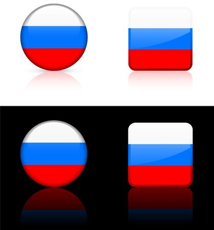 russia Flag Buttons on White and Black Background   Stok Fotoğraf