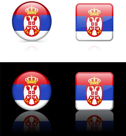 serbia Flag Buttons on White and Black Background