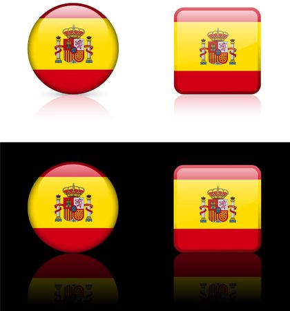 Spain Flag Buttons on White and Black Background   Stock Photo