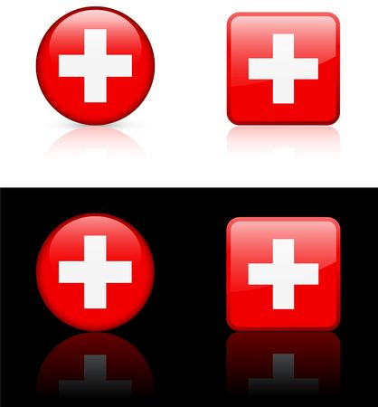 swiss Flag Buttons on White and Black Background  photo