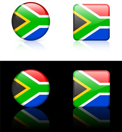 South Africa Flag Buttons on White and Black Background   photo