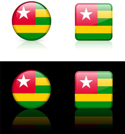 Togo Flag Buttons on White and Black Background   photo