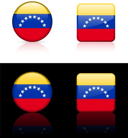 Venezuela Flag Buttons on White and Black Background    photo