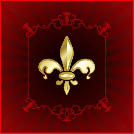 Original Vector Illustration: fleur de lis on red internet background