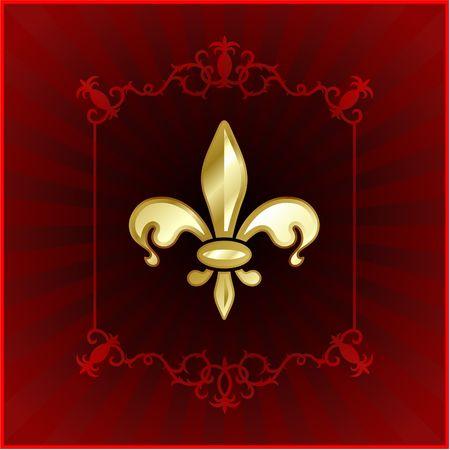 shiny gold: Original Vector Illustration: fleur de lis on red internet background AI8 compatible Stock Photo