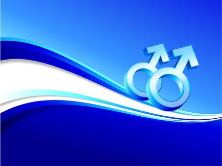 gay gender symbols on abstract blue background  Stock fotó