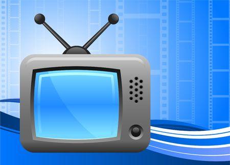 televisie op film reel achtergrond  Stockfoto