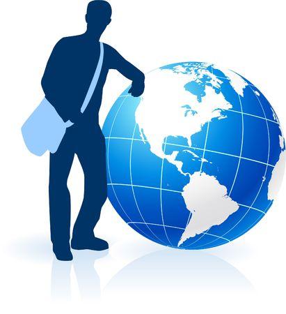 bookbag: Young Man Traveler around the World  Stock Photo