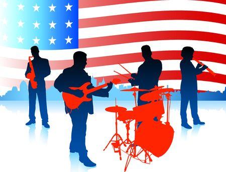 Live Music Band with American Flag Original Vector Illustration illustration