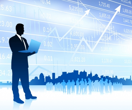 jobs: Businessman with graph and Skyline Original Vector Illustration Businessmen Concept