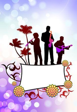 Live Music Band on Tropical Frame Background Original Vector Illustration