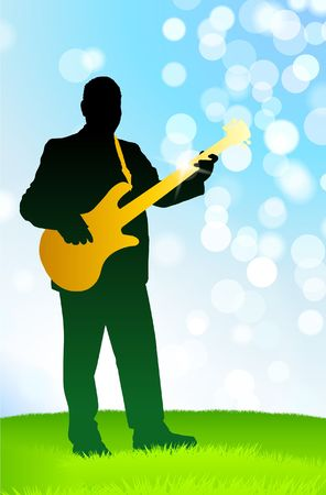 Live Musician on Green Daytime Background Original Vector Illustration AI8 Compatible illustration