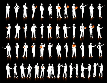palmtop: Business People Silhouette 52 unique high-detailed silhouettes featuring beautiful sexy models  File is easy to manage  Stock Photo