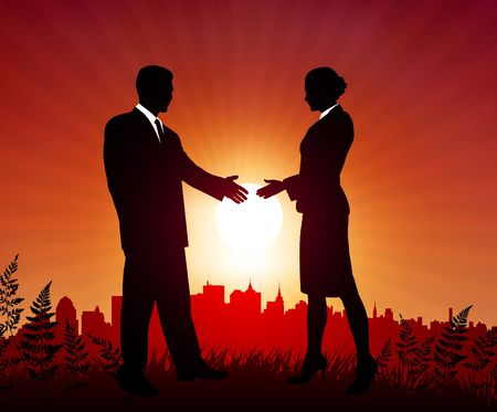 Businessman and Businesswoman meeting on sunset background Original Vector Illustration illustration