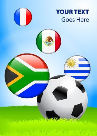 2010 Group A World Cup Original Vector Illustration AI8 Compatible