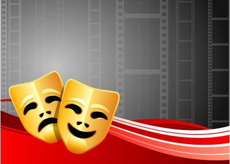 Comedy and Tragedy Masks on Film Reel BackgroundOriginal Vector IllustrationFilm Reel Concept