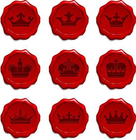 Crown Wax Seal Set Original Vector Illustration  illustration