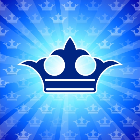 Original Vector Illustration: crown on blue background AI8 compatible illustration