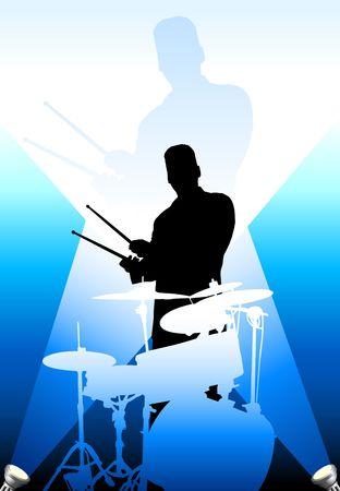 Drums players under the bright lights Original Vector Illustration Stock fotó
