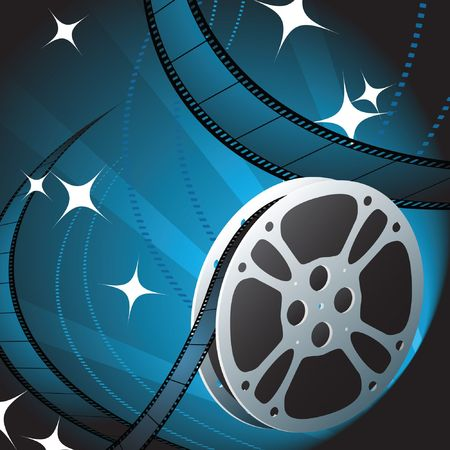 Film Reel on Blue Background Original Vector Illustration Film Reel Concept