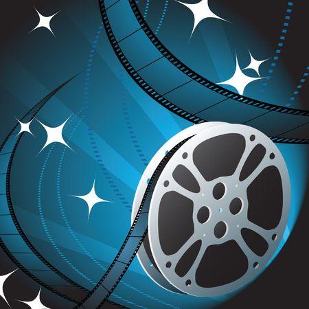 carrete de cine: Reel de pel�cula sobre fondo azul Ilustraci�n original de vector Concepto de Reel de pel�cula  Foto de archivo