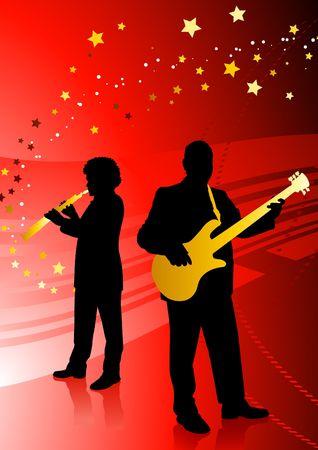 Live Music Band on red background Original Vector Illustration illustration