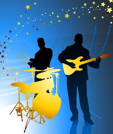 drum and bass: Live Music Band Original Vector Illustration