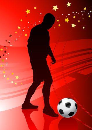 Soccer/Football Player on Red BackgroundOriginal Vector Illustration Stock Illustration - 6522692