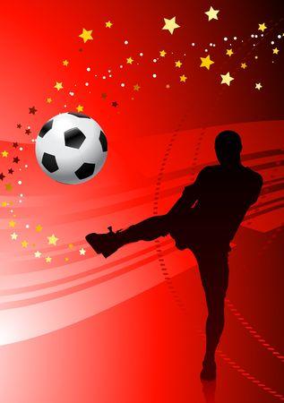 SoccerFootball Player on Red Background Original Vector Illustration illustration