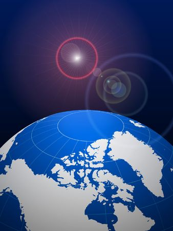 glare: Globe on Lens Glare Background Original Vector Illustration  Stock Photo