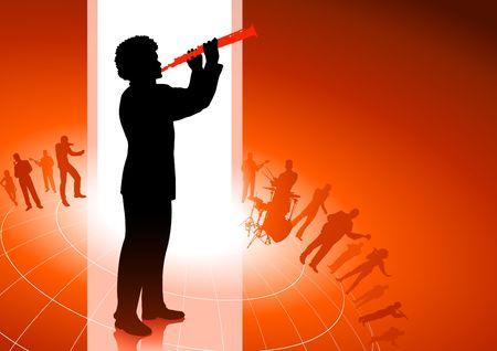 Flute Player on Red background Original Vector Illustration illustration