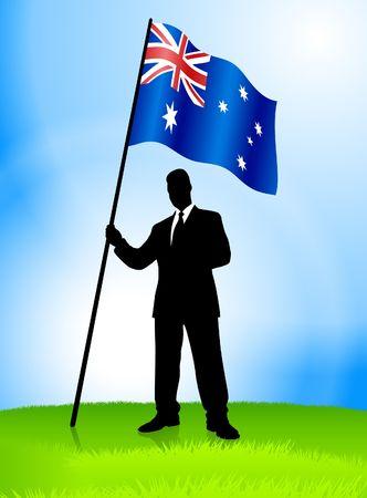 Businessman Leader Holding Australia Original Vector Illustration AI8 Compatible Reklamní fotografie