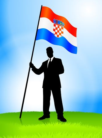 Businessman Leader Holding Croatia Flag Original Vector Illustration AI8 Compatible