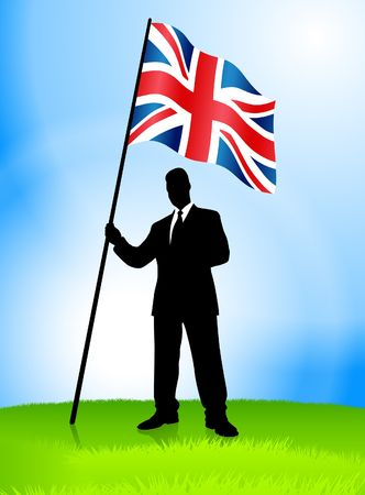 Businessman Leader Holding British Flag Original Vector Illustration AI8 Compatible illustration