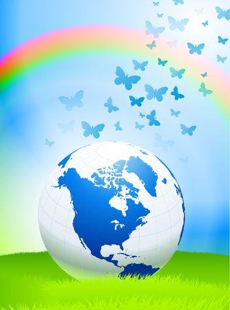 Globe on Nature Background with Rainbow Original Vector Illustration  illustration