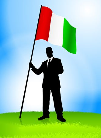 minister: Businessman Leader Holding Italy Flag Original Vector Illustration AI8 Compatible Stock Photo