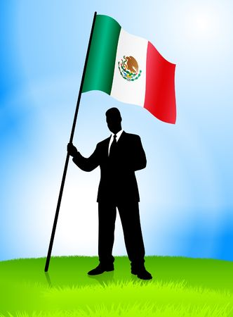 Businessman Leader Holding Mexico Flag Original Vector Illustration AI8 Compatible illustration