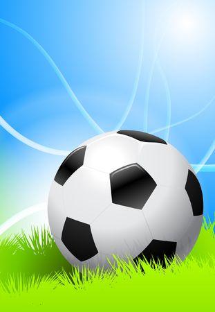 Soccer Ball on Green Field Original Vector Illustration AI8 Compatible illustration