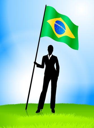 Businesswoman Leader Holding Brazil Flag Original Vector Illustration AI8 Compatible illustration