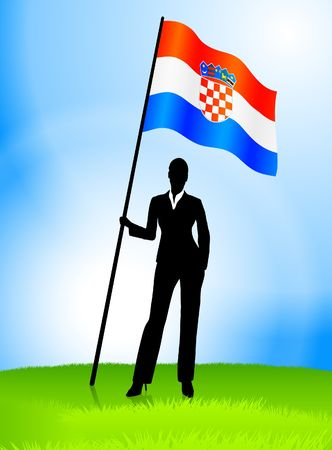 Businesswoman Leader Holding Croatia Flag Original Vector Illustration AI8 Compatible