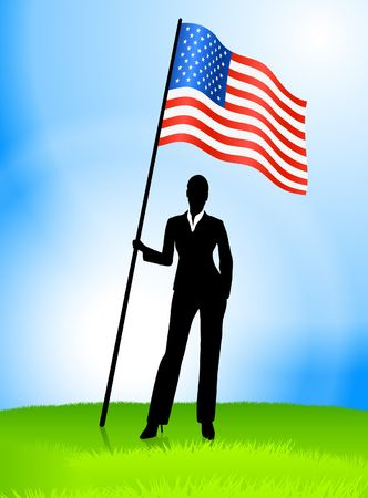Businesswoman Leader Holding United States Flag Original Vector Illustration AI8 Compatible illustration