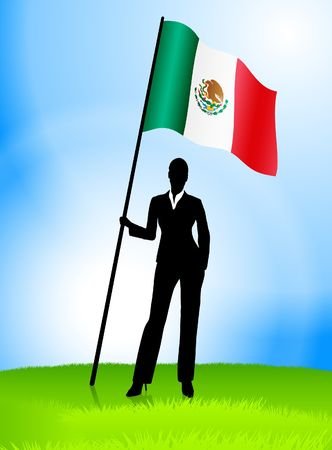 Businesswoman Leader Holding Mexico Flag Original Vector Illustration AI8 Compatible illustration