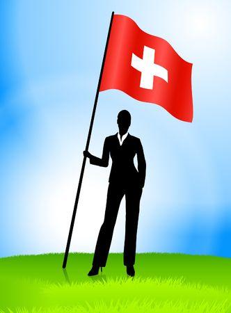 Businesswoman Leader Holding Switzerland Flag Original Vector Illustration AI8 Compatible