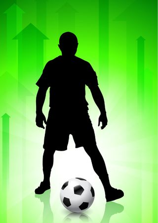 Soccer/Football Player on Green Arrow BackgroundOriginal Vector Illustration Stock Illustration - 6522452