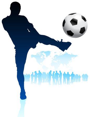 Soccer Player with World Map Background Original Vector Illustration illustration