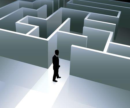 Businessman with Maze Original Vector Illustration Businessmen Concept illustration