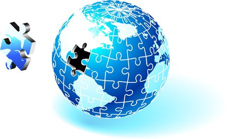 Incomplete Globe Puzzle Original Vector Illustration Globe Ideal for Business Concept