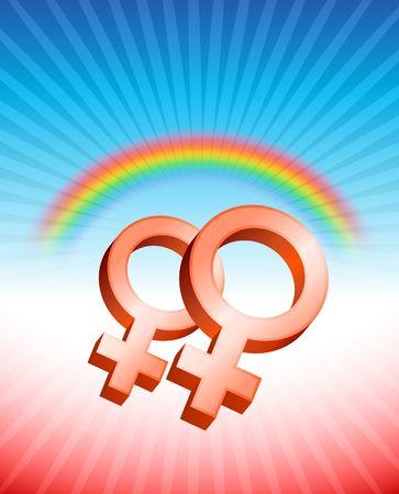 Lesbian Relationship Gender Symbols Original Vector Illustration Rainbow Background Ideal for Gay Concept Reklamní fotografie