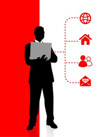 Businessman holding computer laptop with internet Icons Original Vector Illustration Businessmen Concept illustration