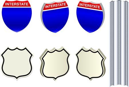 Road Signs Original Vector Illustration Simple Image Illustration Stock Photo
